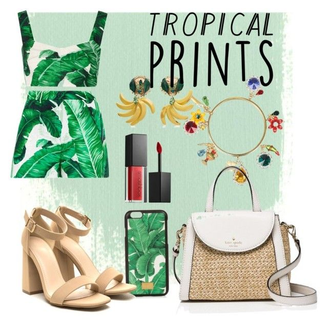 """Untitled #12"" by evemonreall ❤ liked on Polyvore featuring Dolce&Gabbana, Kate Spade, Smashbox, tropicalprints and hottropics"