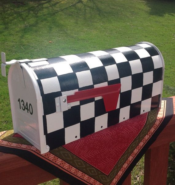 Painted mailbox - custom - personalized - black white ...  Funky Painted Mailboxes