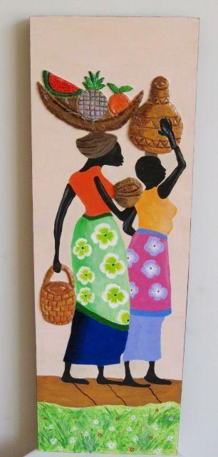 Aparador Suspenso Mercado Livre ~ negras africanas en madera con disenos de frutas en la
