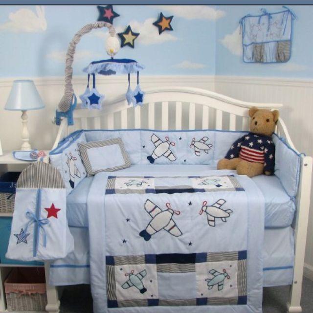 Handmade cotton 2 pc crib sheet set Airplanes on gray////blue//Neutral