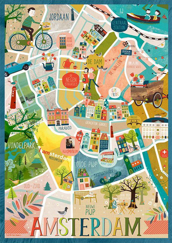 Amsterdam Map Print Amsterdam Karte Amsterdam Reise