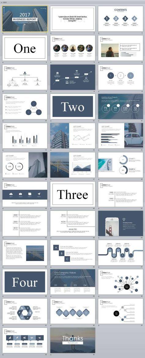 35 slide white magazine style powerpoint templates パワポ