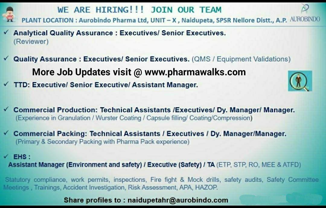 Aurobindo Pharma Ltd Multiple openings in QA/ AQA/ TTD