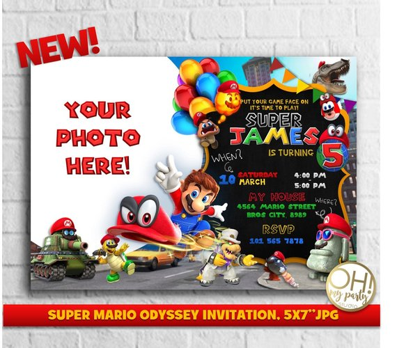 Super Mario Odyssey Invitation, Super Mario Invitation