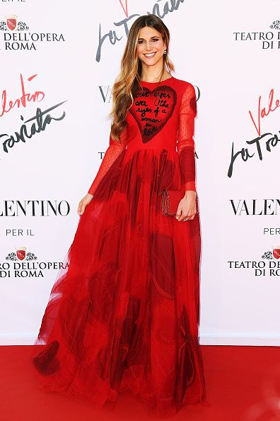 Nicoletta Romanoff in Valentino attends the 'La Traviata' Premiere at Teatro Dell'Opera on May 22, 2016 in Rome, Italy