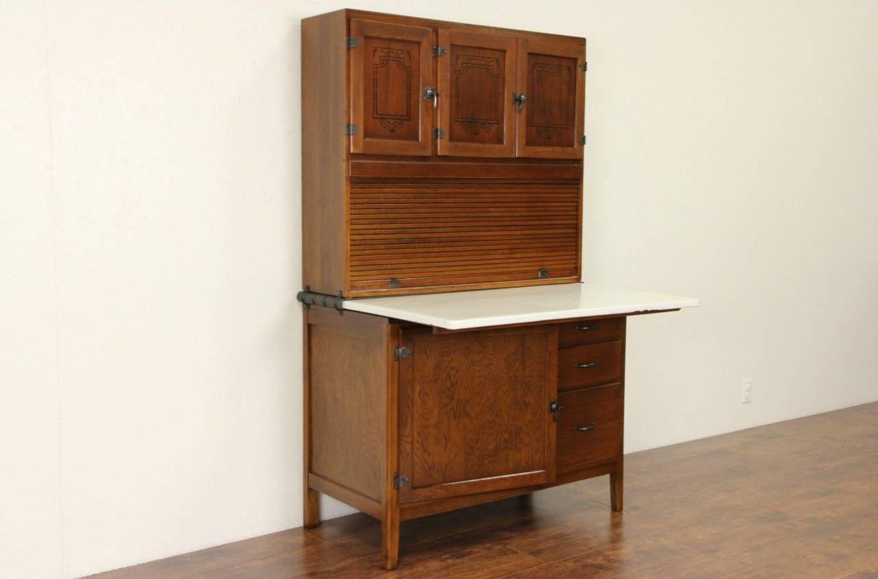 Hoosier 1915 Antique Oak Roll Top Kitchen Cabinet ...