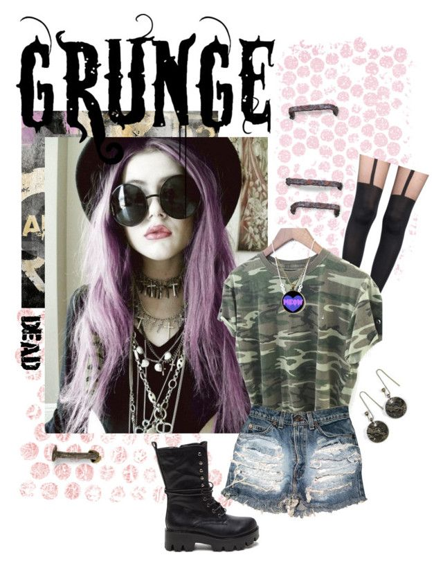 """""""Grunge Love 2"""" by kaorikuro ❤ liked on Polyvore featuring Pretty Polly, The…"""