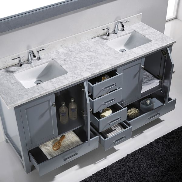 Virtu Usa Caroline Avenue 72 Inch Double Bathroom Vanity Cabinet Set In Grey Overstoc Double Vanity Bathroom Bathroom Remodel Master Small Double Sink Vanity