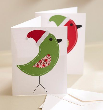 Send a personal and homemade holiday greeting with our simple christmas cards using your fabric stash