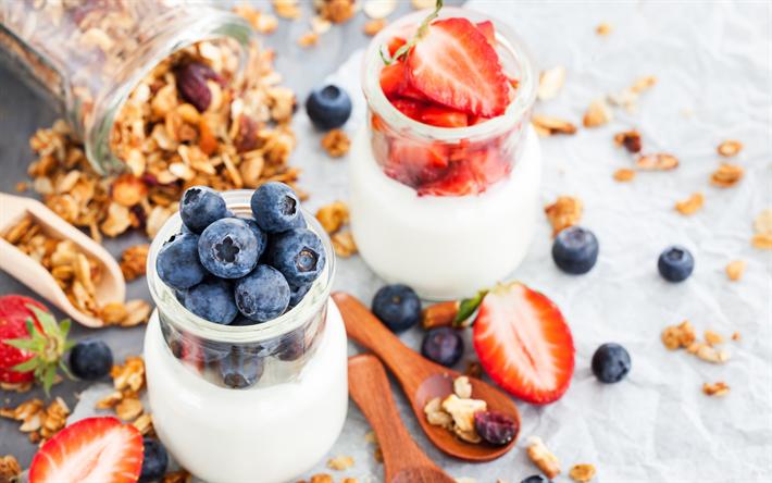 Download wallpapers breakfast, 4k, yoghurt, berries