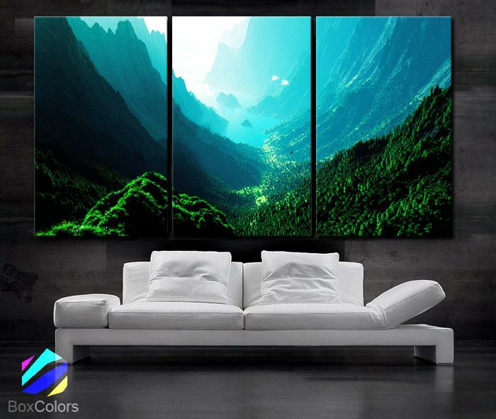 LARGE 30x 60 3 Panels Art Canvas Print Beautiful Nature Mountain Sunset Canyon River Trees Wall Home Included Framed 15 Depth