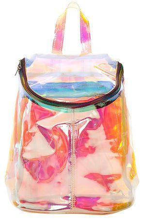 The popular hologram is your must-have item in your closet. The rainbow  color shows differently under light reflection. Bag straps are adjustable. 956908328c