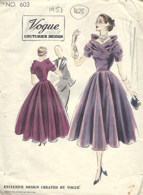 1951 Vintage VOGUE Sewing Pattern B30 DRESS (1428) Vogue 603 #vintagefashion1950s