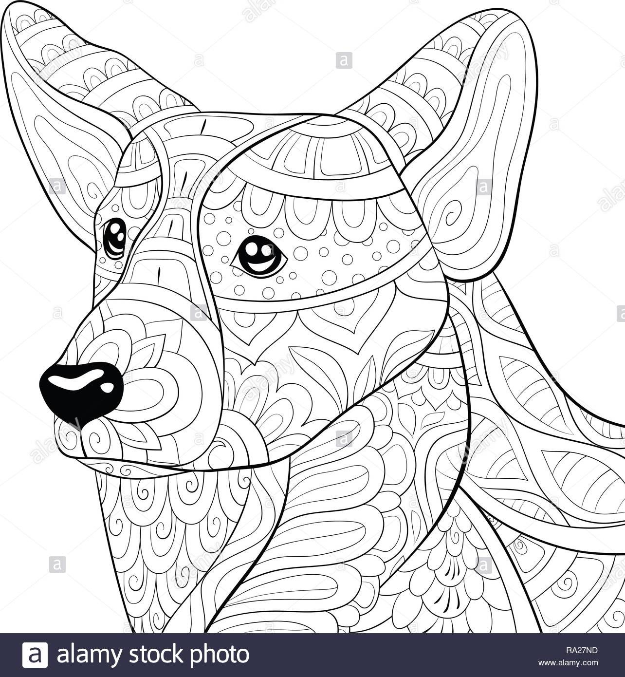 4 Worksheet Dog Coloring Pages To Print A Cute Dog With Ornaments Image For Relaxing Activity Dog Coloring Page Animal Coloring Books Dog Coloring Book