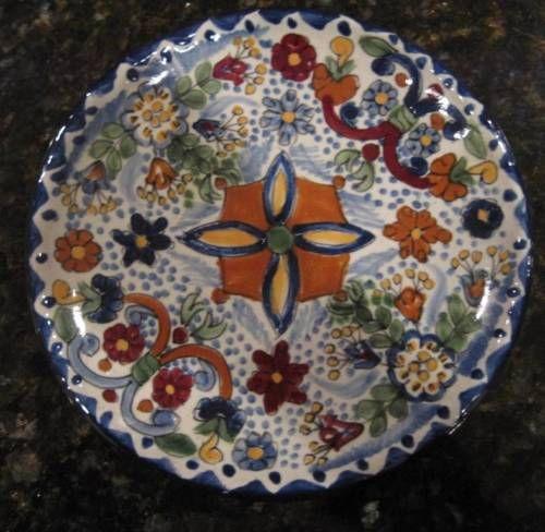 Mexican-Talavera-Dessert-Sauce-Plate-Pinwheel-w-Flowers-Blue-La-Corona-042