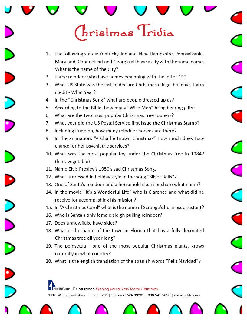 Christmas poems for church programs - Christmas Trivia Game Free Printable