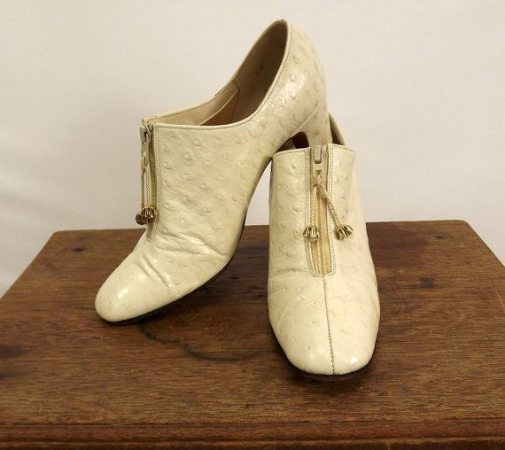 Vintage 60's Leather Shoes Zipper Vamp with by SuzisCornerBoutique, $115.00