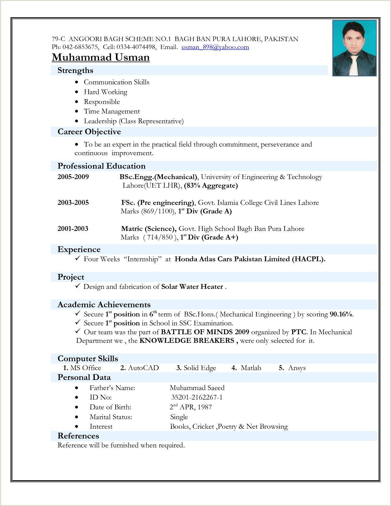 Cv format for Fresher Nurses in 2020 Resume format