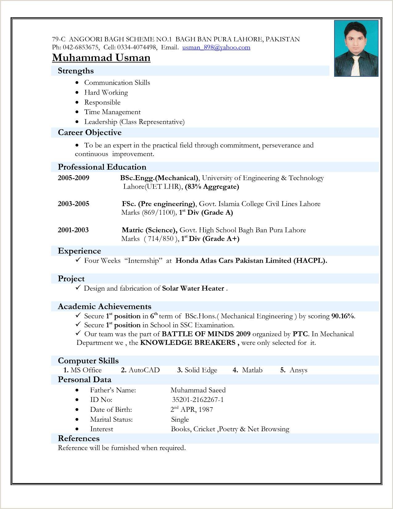 Resume Format Pdf For Freshers