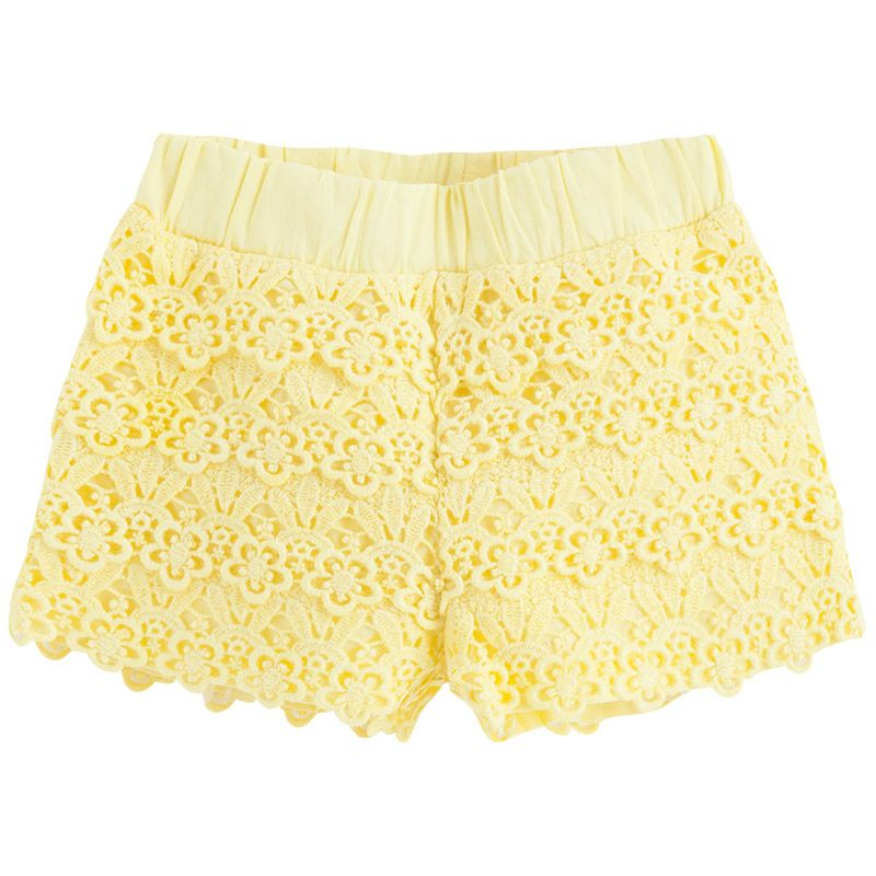Mayoral Guipure Shorts too cute! Love the yellow and the overlay!