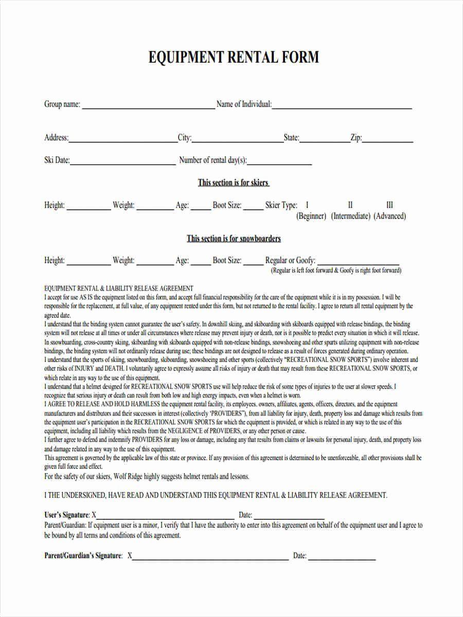 Damage waiver form fresh 6 equipment liability form
