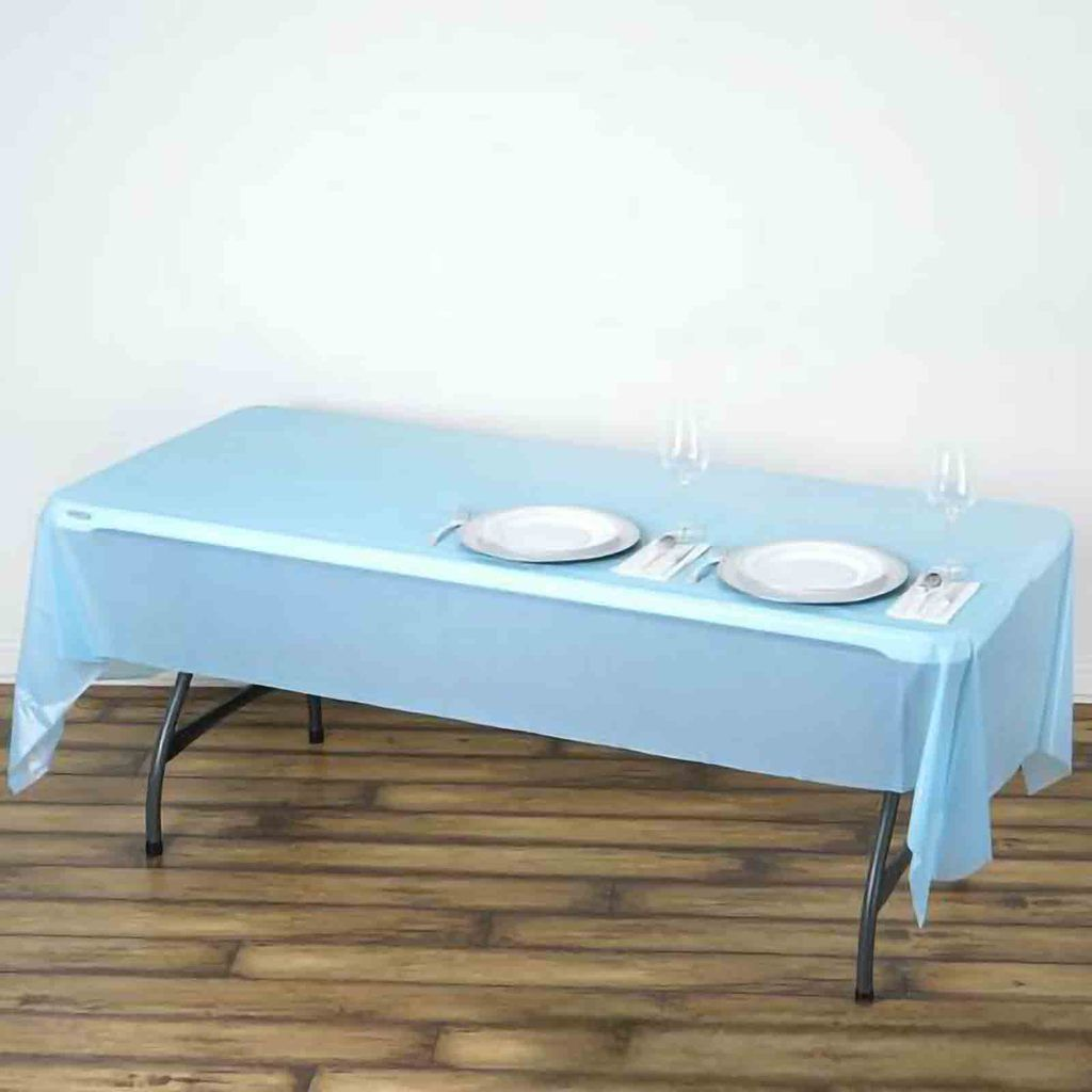 54 X 108 Serenity Blue 10 Mil Thick Waterproof Tablecloth Pvc Rectangle Disposable Tablecloth In 2020 Table Cloth Serenity Blue Waterproof Tablecloth