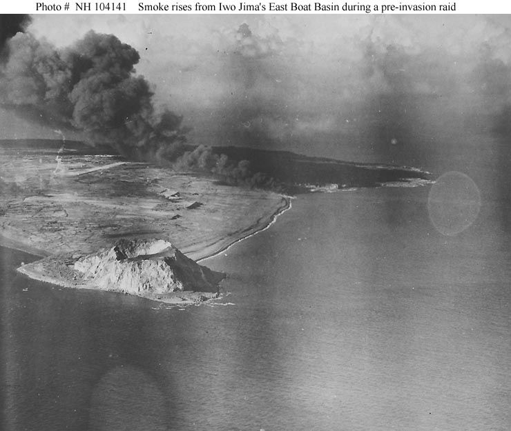 This is an aerial photograph taken of the Island of Iwo Jima during a raid before the invasion.