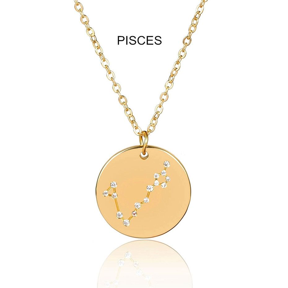 Photo of Fashion Personalized Twelve Constellations Carved Coin Necklace – Pisces Golden