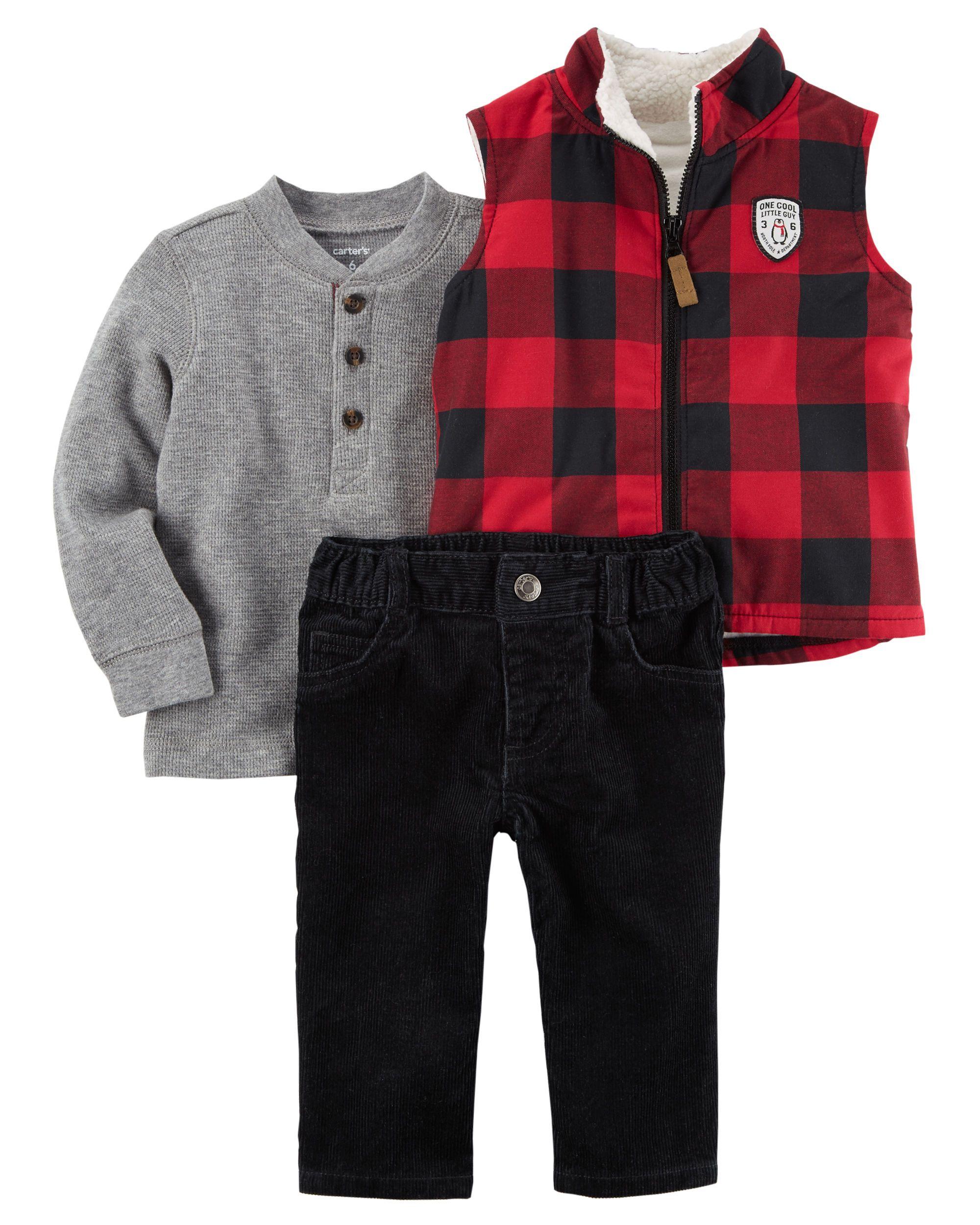 3-Piece Checked Little Vest Set