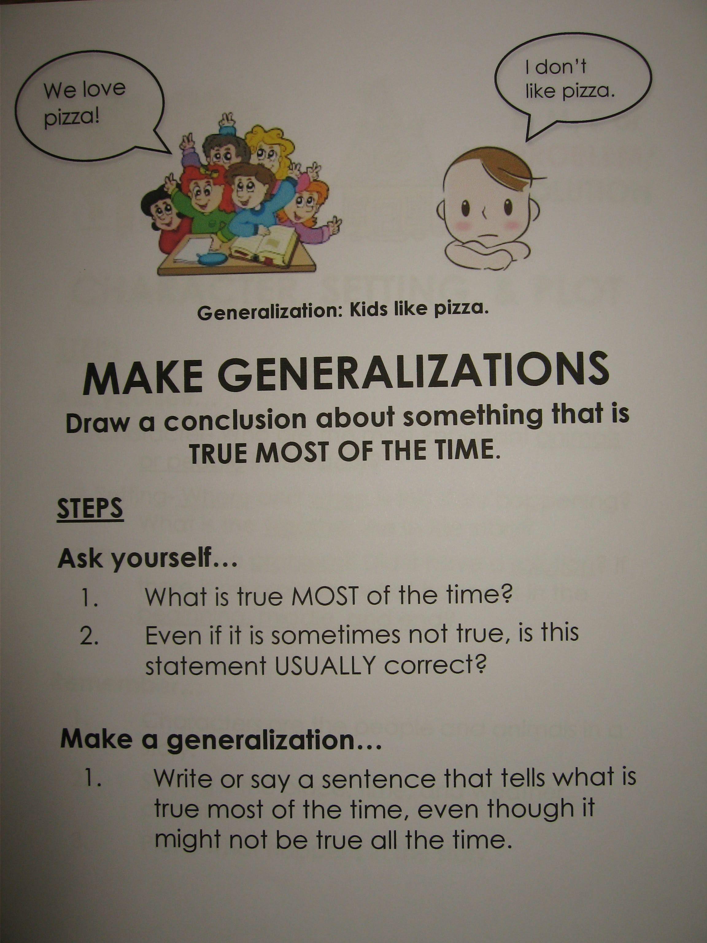 Make Generalizations Margaret Hoang
