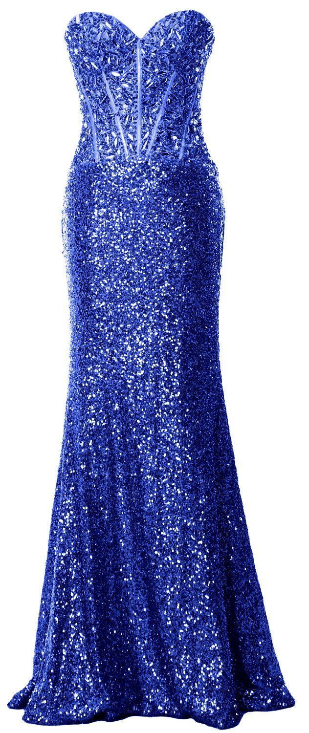 Macloth women mermaid prom dress strapless sequin long formal party