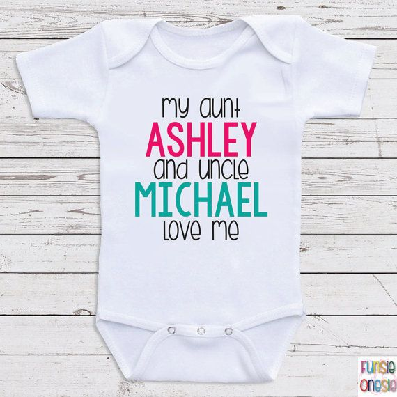 Custom baby clothes my aunt and uncle love me personalized baby custom baby clothes my aunt and uncle love me personalized baby clothes for boys or girls baby shower gifts baby clothes d35 negle Images