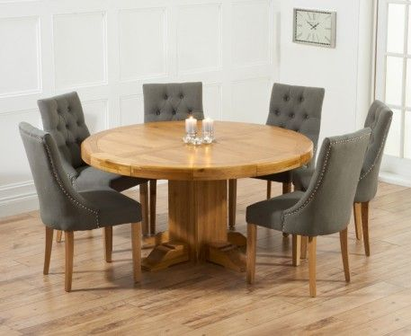 Torino 150cm Solid Oak Round Pedestal Dining Table With Pacific