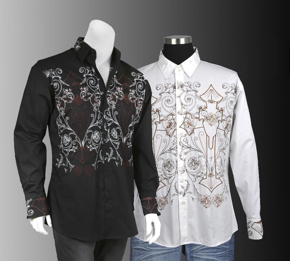 Men's Cotton Stylish Casual Embroidered Western Shirt #37 Black ...
