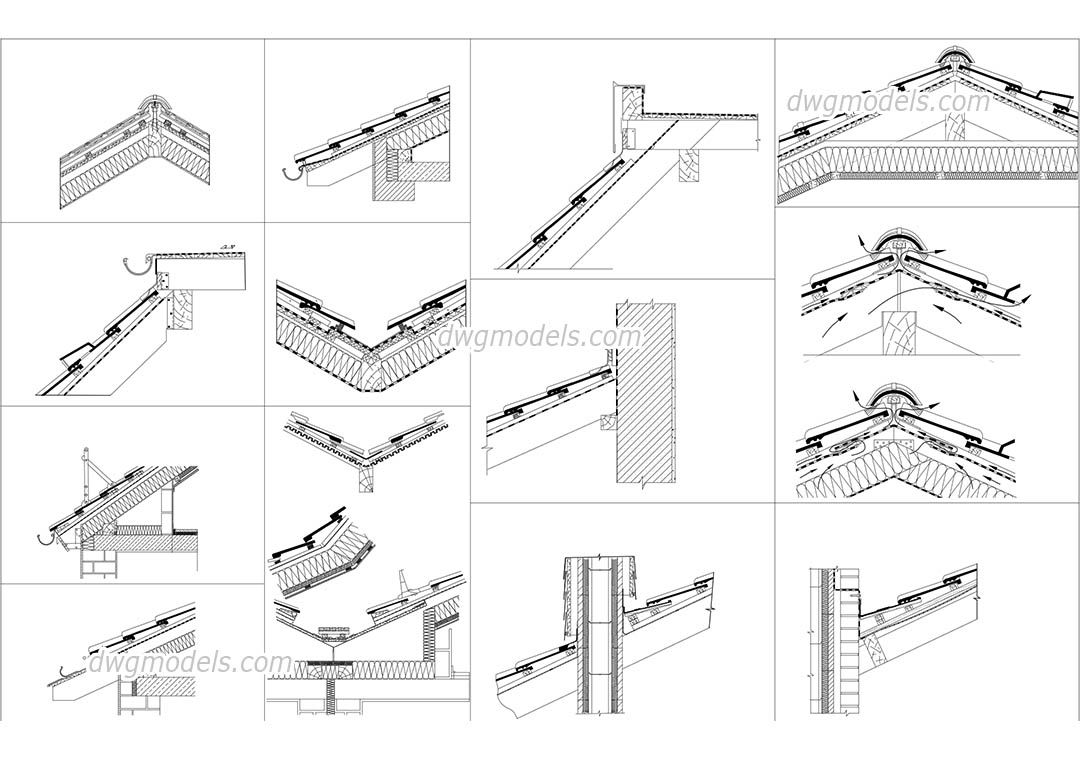 Roof Section Details Architecture Drawings Cad Blocks
