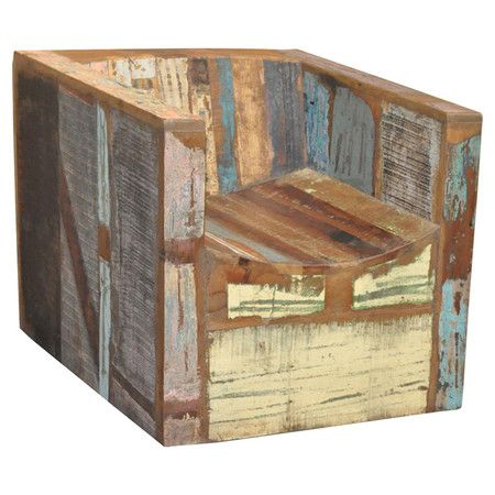 Cool Reclaimed Wood Accent Chair With A Distressed Finish Gmtry Best Dining Table And Chair Ideas Images Gmtryco