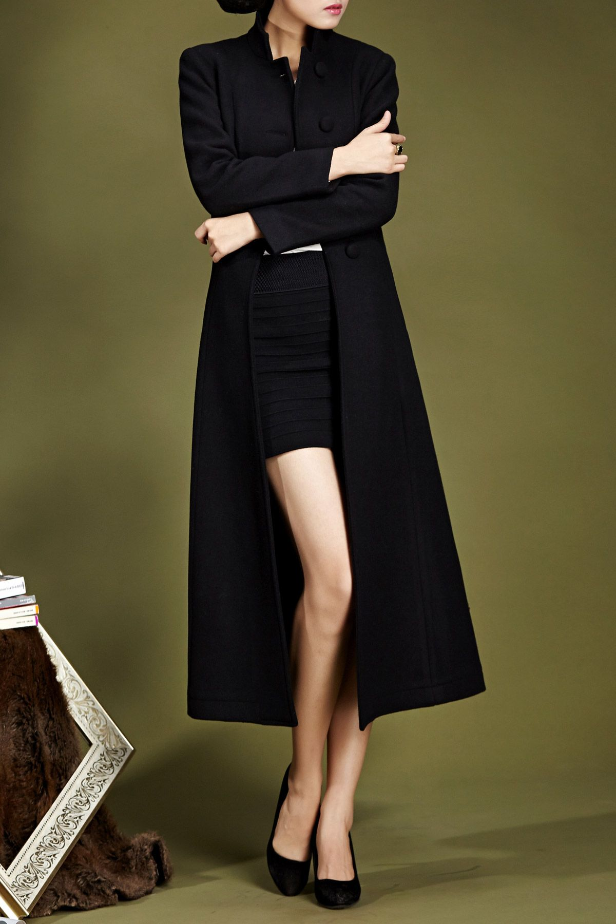 Stand collar fit and flare coat clothes clothing and classic style