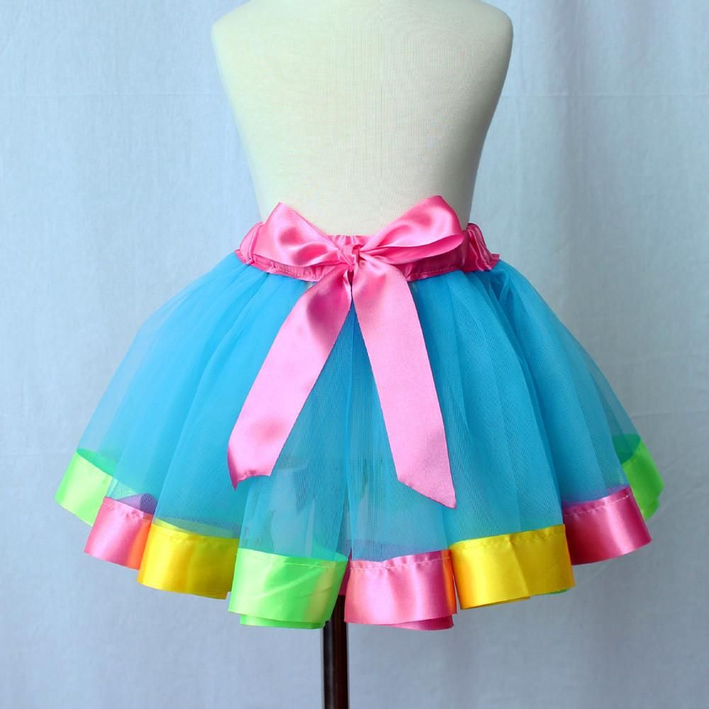 76e2a6430acc Skirt Girls Petticoat Rainbow Pettiskirt Bowknot Skirt Tutu ...