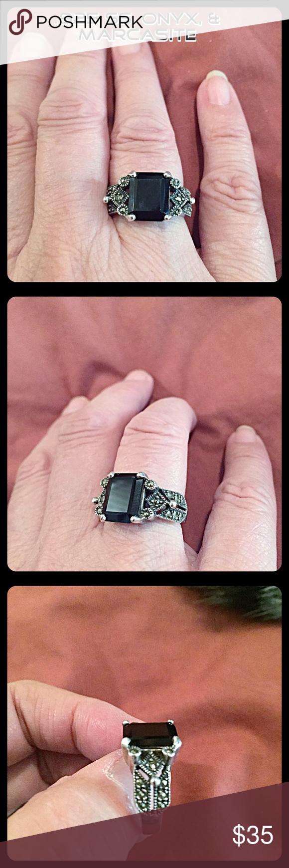 💐VTG. .925 SS, Onyx, & Marcasite Ring💐 | Marcasite ring, Marcasite ...