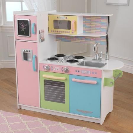 Kidkraft Wooden Large Pastel Kitchen With 4 Piece Accessory Play Set Walmart Com Uptown Kitchen Kids Play Kitchen Pastel Kitchen