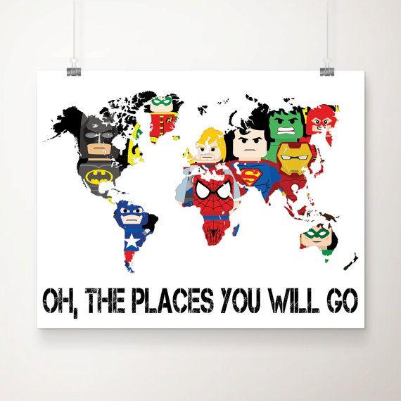 Lego Superhero World Map Art Print Superhero Wall By DCAStudio