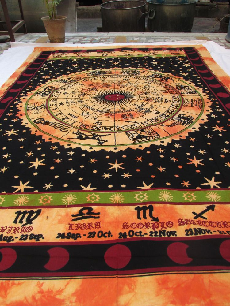 Horoscope Tapestry Indian Zodiac Astrology Twin Wall Hanging Hippie Bedspread-A+ #Unbranded #ArtDecoStyle