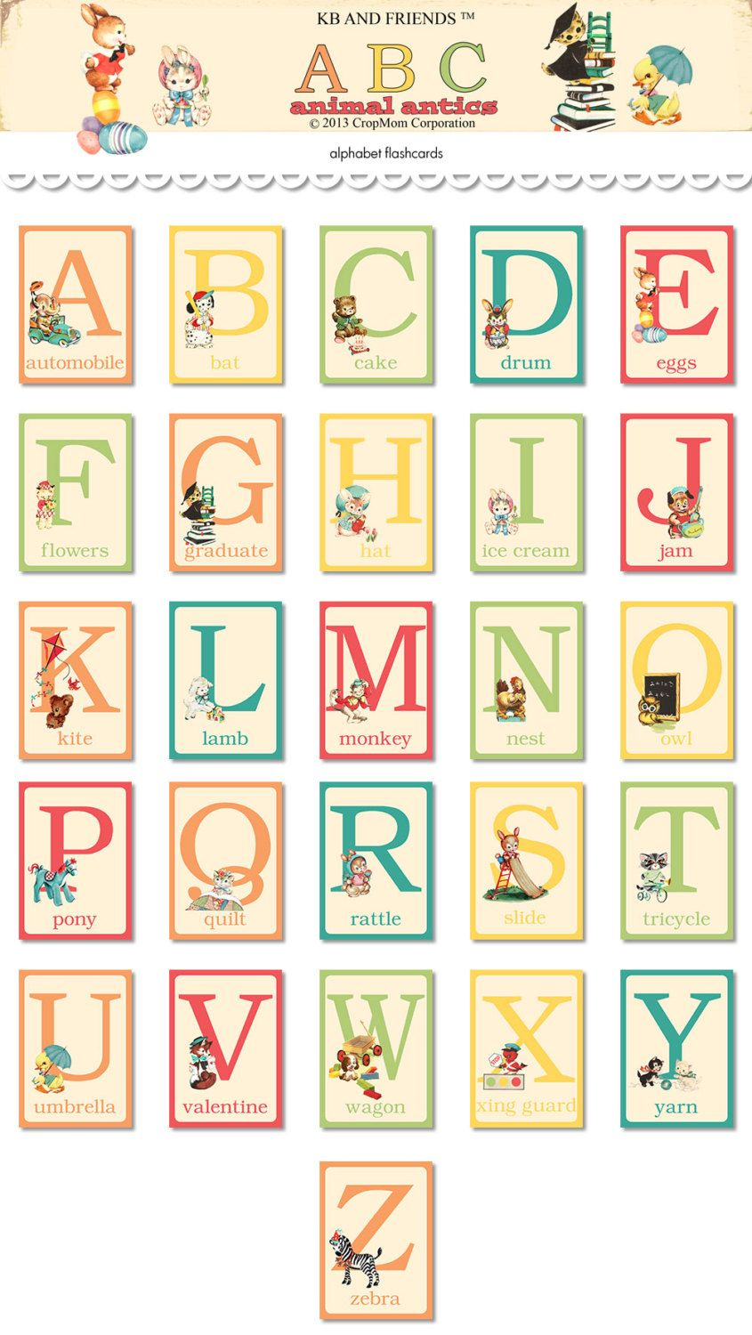 Digital whimsical retro animal abc flash cards alphabet for Educational coloring pages abc flash cards