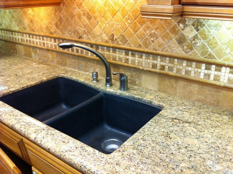 Kitchen Cream Granite Tile Countertop Combined With Black
