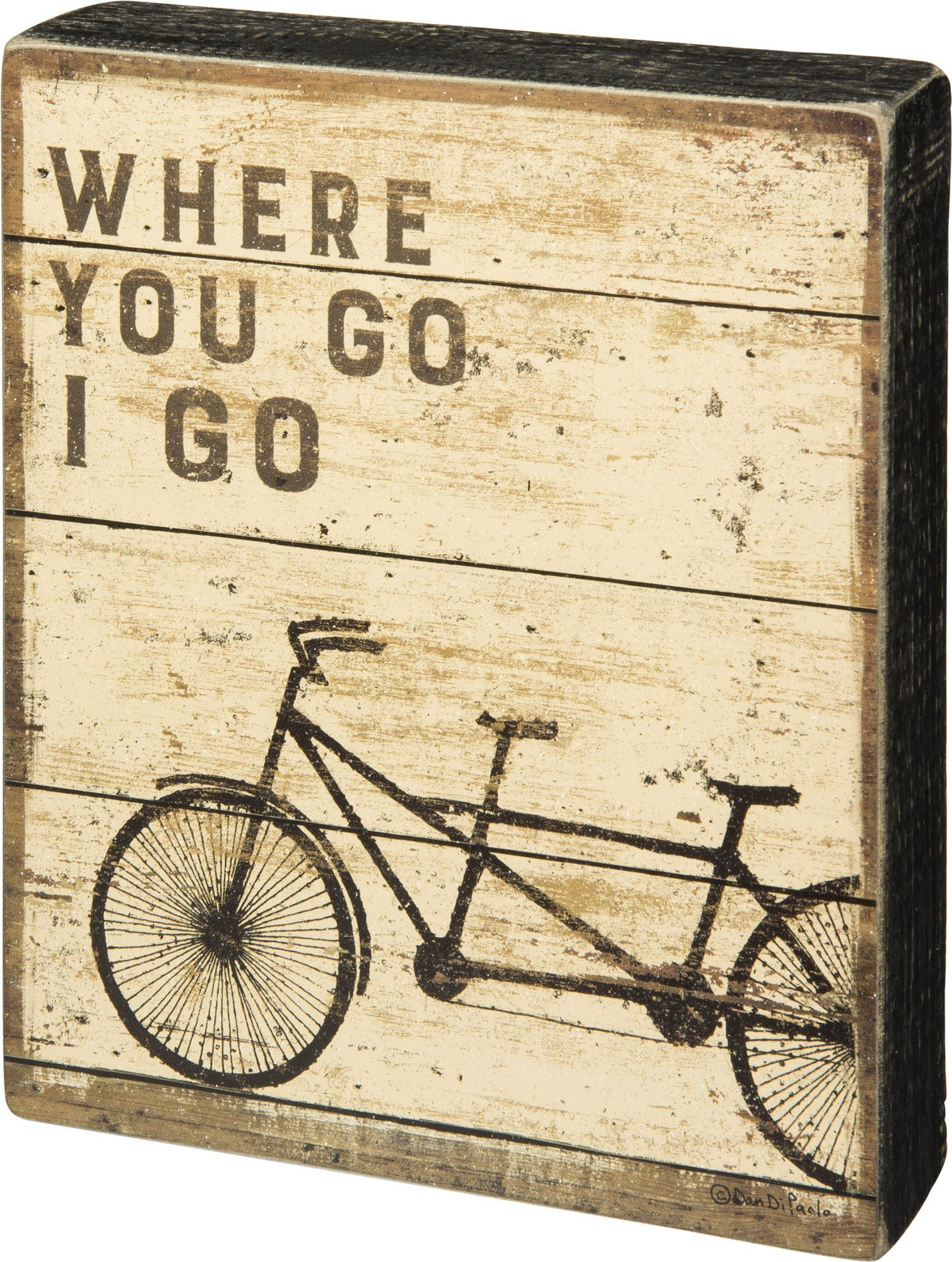 Where You Go I Go - Vintage Bicycle Built for Two Tandem Box Sign ...