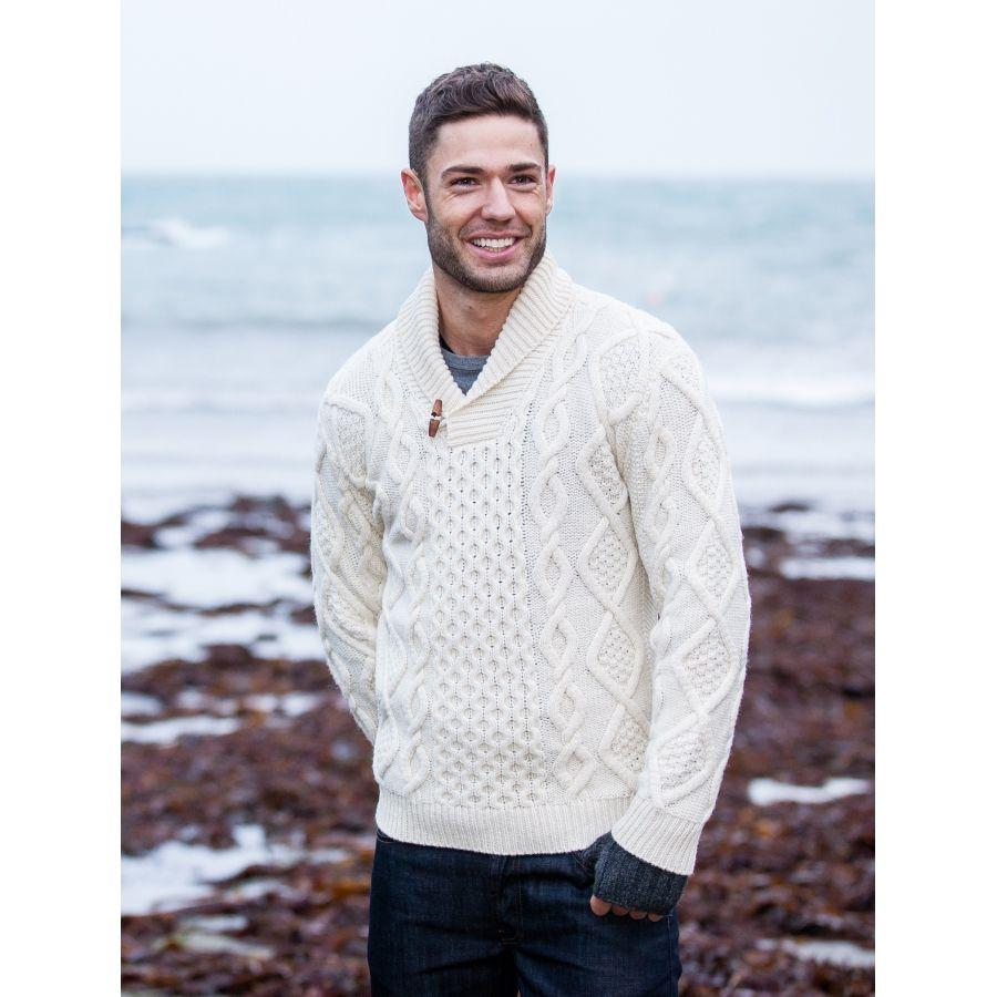 Aran Shawl Neck Sweater, Shawl collar fisherman sweater | Aran ...