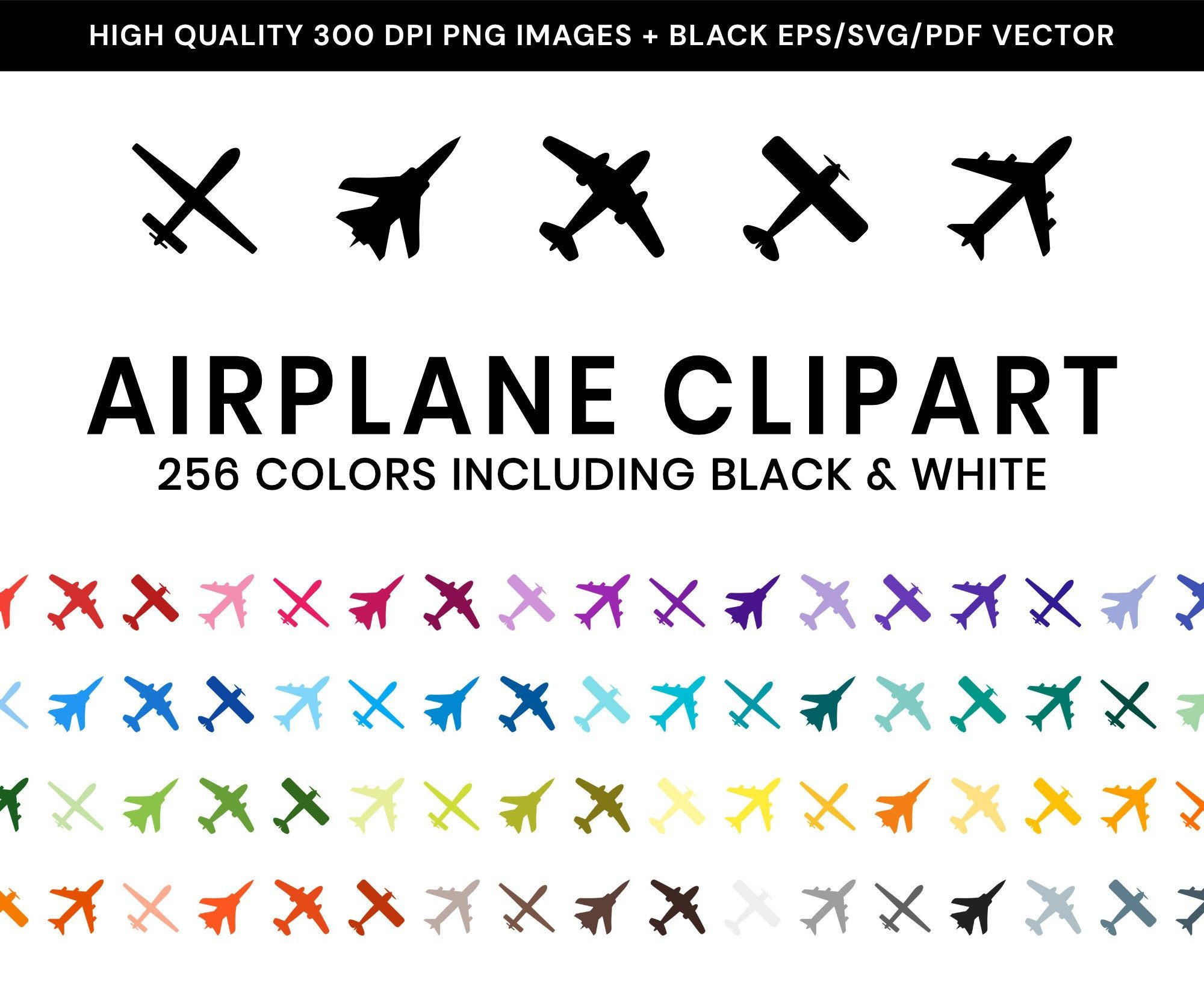 Airplane Clip Art MultiColored Drone Airliner Jet Vector