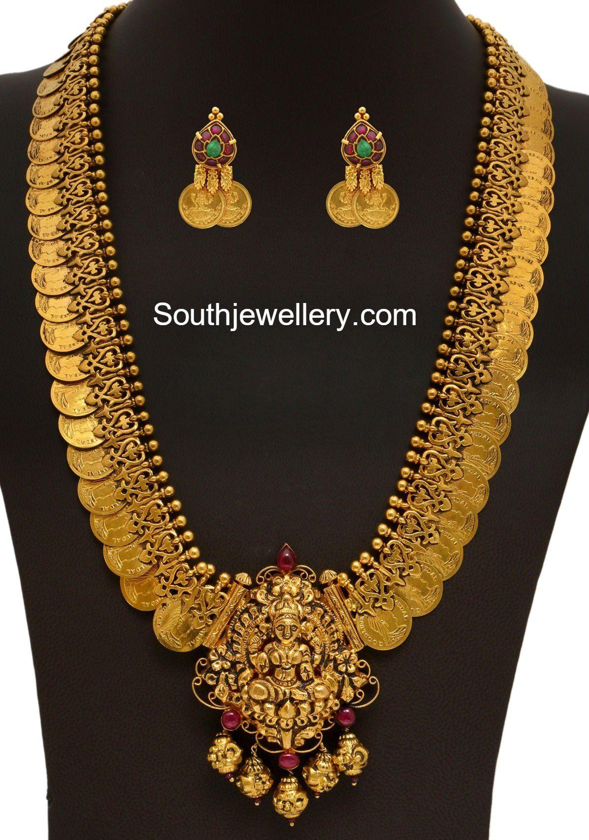 540e27f1b7e20 Antique Gold Kasu Mala | #weddingthings | Indian jewellery design ...