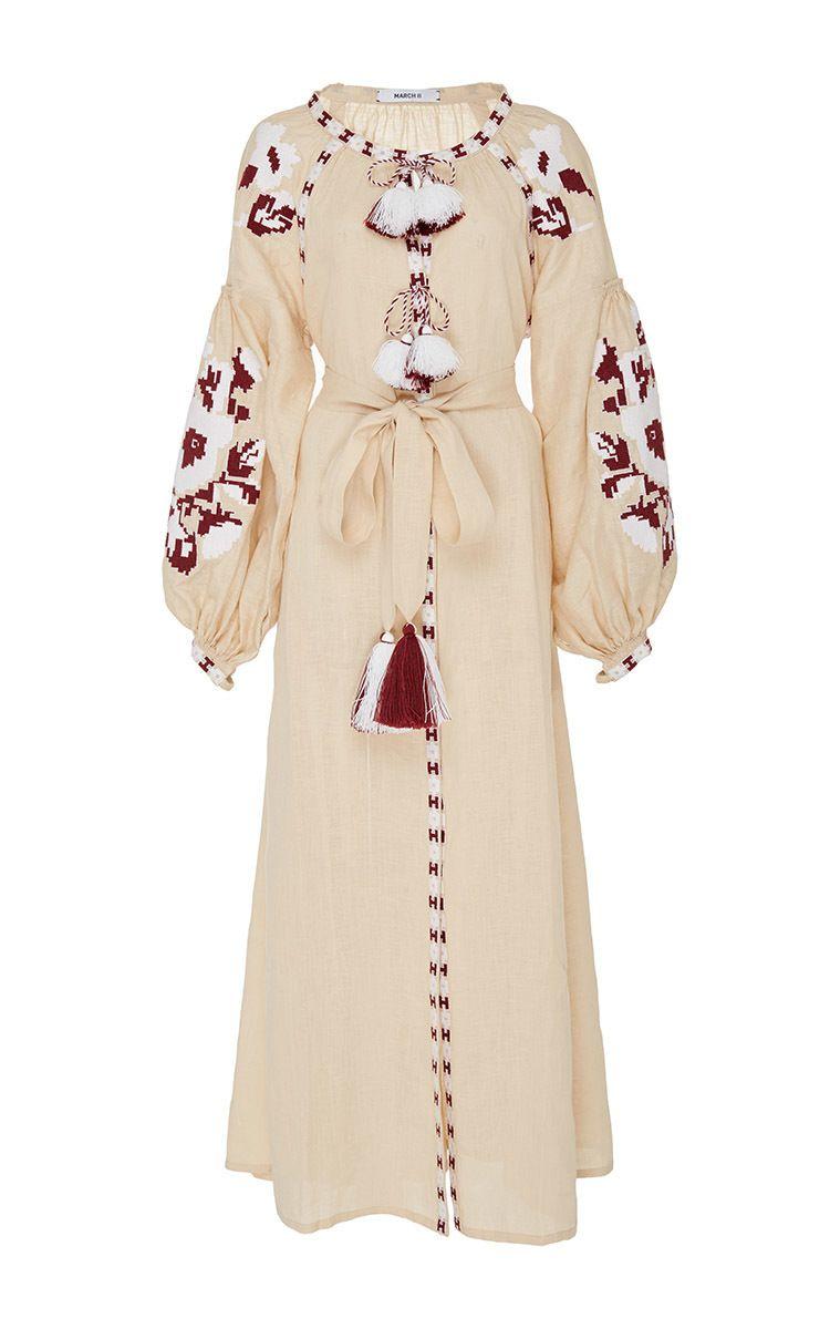 Beige Flower Pixel Maxi Dress by MARCH11 for Preorder on Moda Operandi