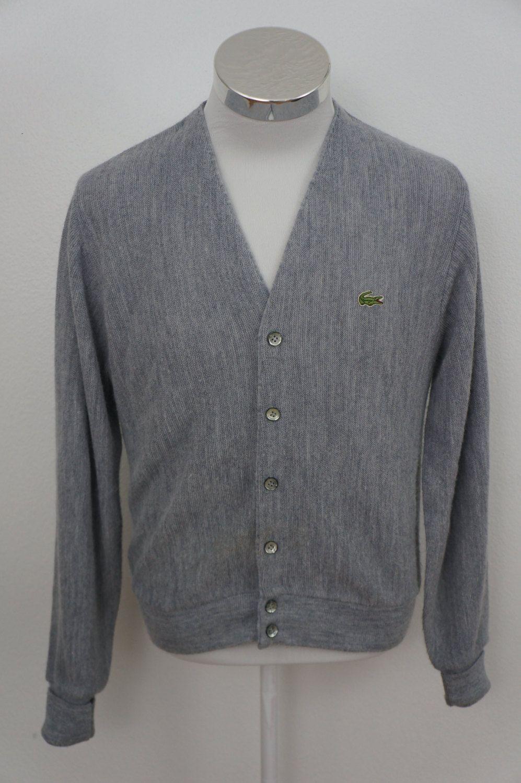 a8ad2ecb Vintage Izod Lacoste Gray Cardigan Sweater Alligator Sweater Size ...